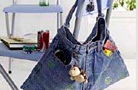 Молодежная сумка из джинсы сделана с использованием клеев UHU